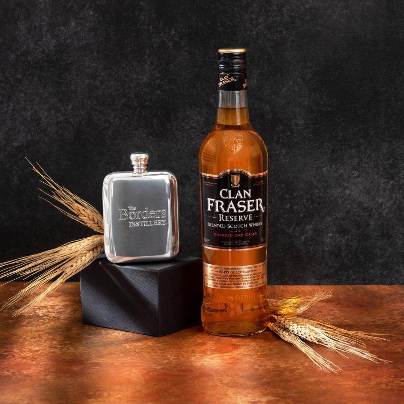 Clan Fraser Reserve whisky + Borders Distillery hip flask