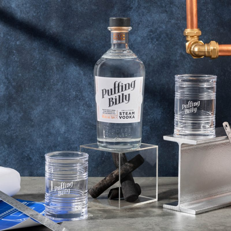 Puffing Billy Steam Vodka + 2 'tin can' glasses
